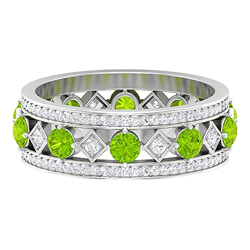 Anillo de aniversario vintage, anillo ancho de boda, 1,2 quilates 3 mm kryptonita creado en laboratorio, HI-SI 0, 14K Oro blanco, Size:EU 58