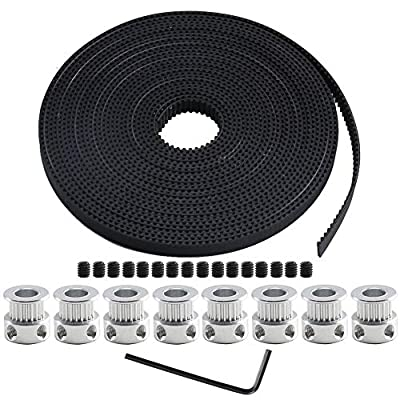 NACTECH 5M GT2 Pulley and Timing Belt 3D Printer Timing Belt Pulley 8Pcs GT2 20 Teeth Timing Belt Pulley 8mm Bore with Wrench and Screws for 3D Printer CNC Parts Anet A8 RepRap Prusa i3
