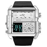 SKMEI Men's Digital Sports Watch,Large Square Dial Multi-Function Metal Quartz Waterproof Watch,Adult Wrist Strap Stopwatch (Silver Black)