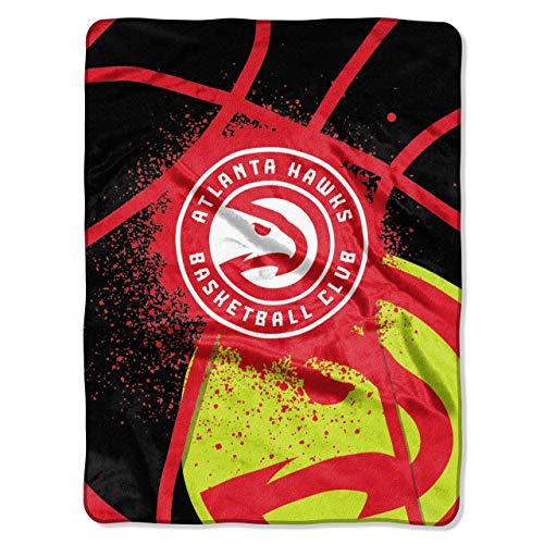 Officially Licensed NBA Atlanta Hawks Shadow Play Plush Raschel Throw Blanket, 60' x 80', Multi Color