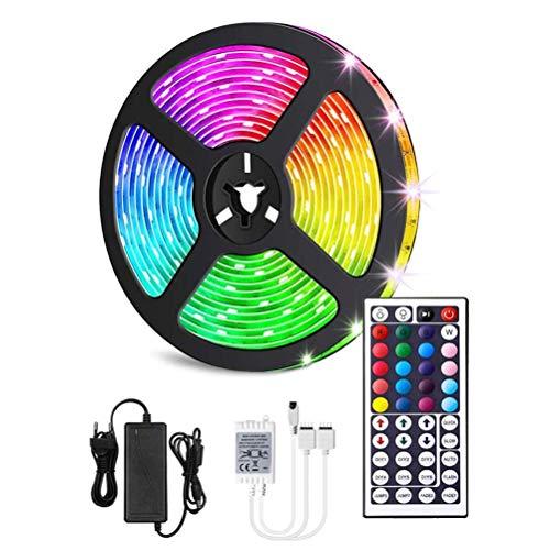 BSTQC Tira de luces LED, 5 m, 10 m, 5050 RGB, flexible, con mando a distancia por infrarrojos, luces LED para dormitorio en casa