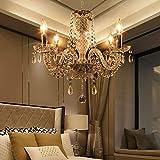 Samger Lujosa lámpara de techo de 4 brazos K5 Lámpara de techo de cristal E14 Lámpara colgante para la sala de estar Dormitorio Entrada en el pasillo Color Transparente