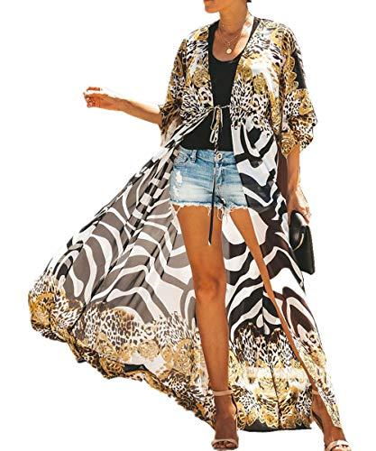 L-Peach Vestido Largo de Playa Pareo Kimono Maxi Kaftan Bikini Cover Up de Mujer