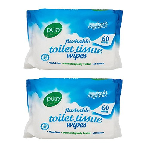 Pure Flushable Toilet Tissue Wipes Pack Of 2 60's