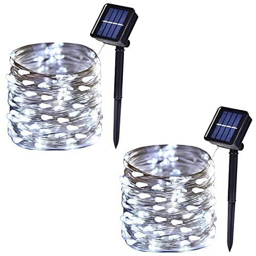 Luci solari per esterni a 100 LED ad energia solare a 8 modalità di illuminazione, decorazione impermeabile per patio, cortile, albero di Natale, festa di nozze (2 pezzi, 90 m, bianco)