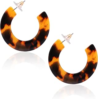 Leopard Hoop Earrings for Women Tortoise Shell Earrings Acrylic Earrings Resin Earrings