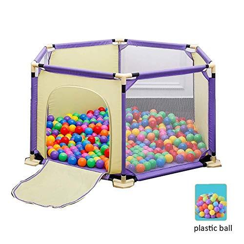 J+N Kinderschutzzaun Babyplaypen Kinder Activity Center Extra Large Anti-Rutsch-atmungsaktiv Krabbeln Mat Plastikkugel Kinderlaufstall (Color : Yellow Purple)