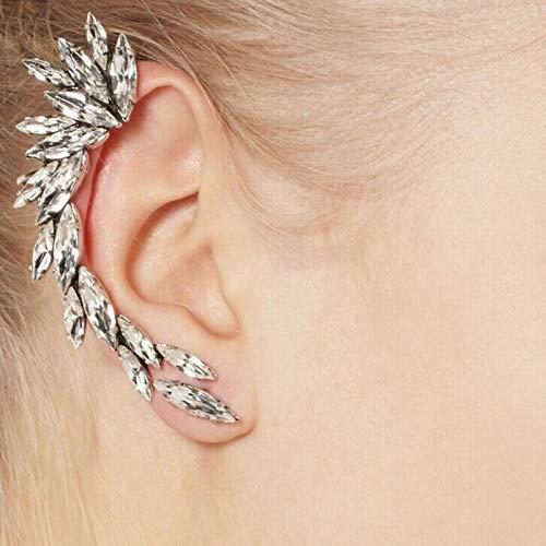 mengnuo Vintage Punk gótico Cristal Rhinestone Ear Cuff Wrap Stud Clip Pendientes-predeterminado