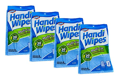 Clorox Handi Wipes Multi-Use Reusable Cleaning Cloths 21' X 11' 6 Count (Pack of 4)