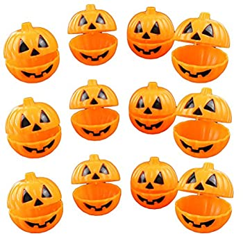 TINKSKY Plastic Pumpkin Shaped Storage Box Case Container Halloween Mini Gift Holder Props 12pcs  Yellow