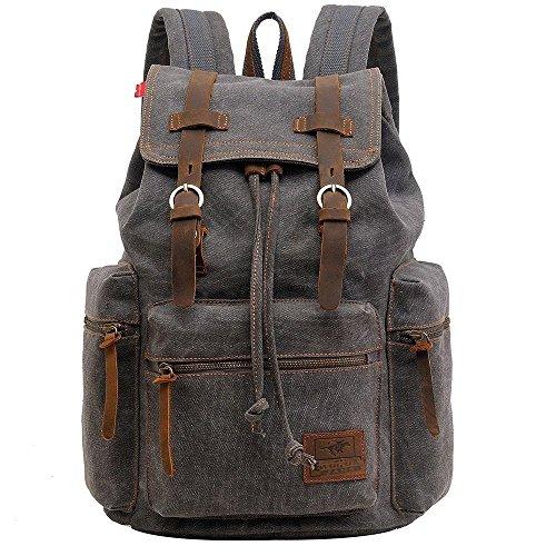 Vintage Unisex Casual Leather Backpack Canvas Rucksack Bookbag Satchel Hiking Backpack Travel Outdoor Shouder Bag (Grey)