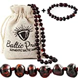 Baltic Amber Necklace and Bracelet Gift Set (Unisex Cherry) - Certified Premium Quality Raw Baltic Amber