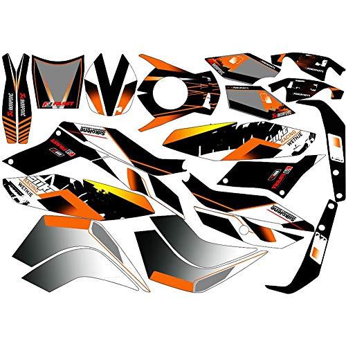 Motocicleta 3M Fondos de gráficos Bicicleta de calle Pegatinas personalizadas Calcomanías Kits para KTM Duke 125 200 390 2016 2015 2014 (Color : Yellow)