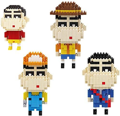 RSVT 4 Piezas Crayon Shin-Chan Modelo Nano Bloques Conjunto 3D Puzzle Mini Ladrillos Toys Regalos Niños