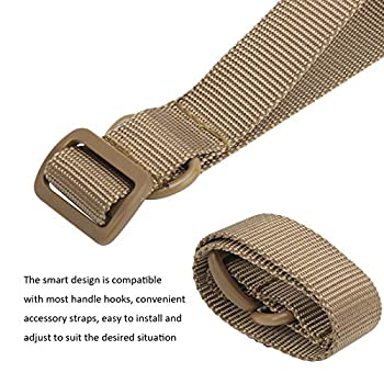 Sangle de suspension multifonction, anneau en D en métal solide Sangle de suspension auxiliaire de conception intelligente pour les outils extérieurs d'été pour pique-nique pour piscine(Khaki)