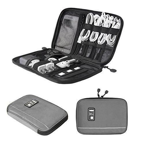 bagsmart Bolsa Electronica Organizador Viaje Portátil para Cables, Memorias USB, Powerbanks, Baterias, Tarjeta SD (Gris)