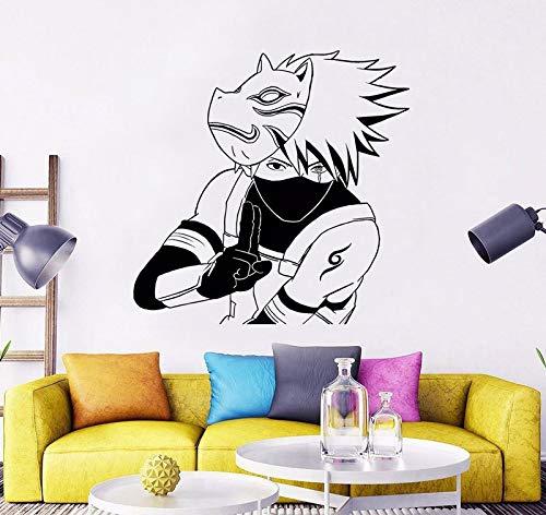 uytrew Vinyl Wandaufkleber Japanischer Anime Comics Cartoon Naruto Kakashi Maske Attentäter Schlafzimmer Wohnzimmer Spielzimmer Hauptdekoration Vinyl Aufkleber Kunst Wandbild Poster