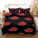 Japan Anime Red Black Bed Set Duvet Cover for Comforter Naruto Akatsuki Bedding Set Quilt Cover Queen 3Pcs Bedding Cover