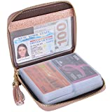 Easyoulife Womens Credit Card Holder Wallet Zip Leather Card Case RFID Blocking (Glitter Gold)