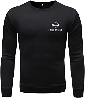Gergeos Shirts Men's Fashion Long-Sleeved Round Neck Solid Color Print Sweater Tops Pullover T-Shirts