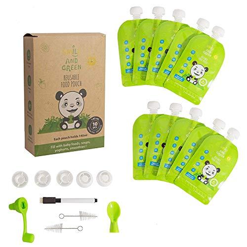 Smile&Green |Lot de 10| gourde compote rechargeable 140 ml gourde réutilisable écologique et zéro déchets facile à remplir et à nettoyer BONUS : 1 eBook de recettes + 5 Accessoires