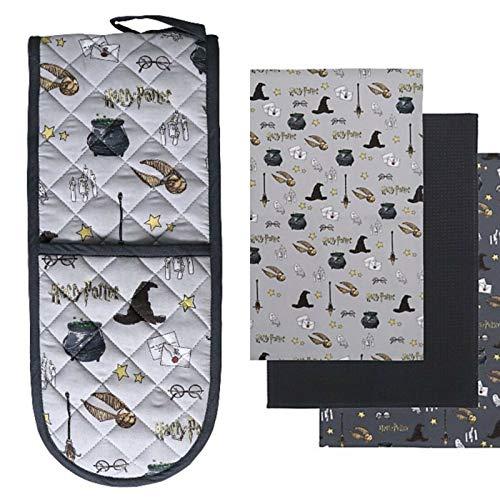 Divas World Harry Potter - Juego de 3 paños de cocina (100% algodón), diseño de guantes y toallas de cocina