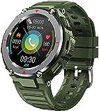 CNZZY S25smart Orologio da uomo con schermo Bluetooth da 1,28 pollici, lettore di musica e fitness tracker sportivo per la pressione sanguigna, cardiofrequenzimetro Smartwatch Android iOS (verde)