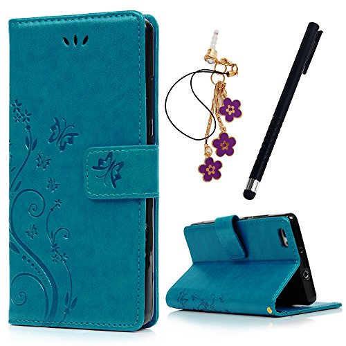 MAXFE.CO Lederhülle Leder Tasche Case Cover für Huawei P8 Mini Hülle PU Schutz Etui Schale Blau...