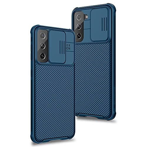 XTCASE Funda para Samsung Galaxy S21+ 5G / S21 Plus, Protección de la cámara Carcasa Cubierta de cámara Deslizante Proteger Ultra-Delgado Híbrida PC Anti-Choque Anti-arañazos - Azul