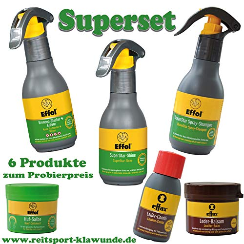 Effol/Effax 6 Set Pflegemittel - Bremsen Blocker, SuperStarShine, OceanSprayShampoo, Hufsalbe.