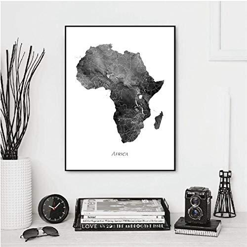 Afrika kaart poster en afdrukken aquarel kaart reis muurkunst canvas schilderij grijs zwart wit beeld wooncultuur 30x40cmx1 niet ingelijst
