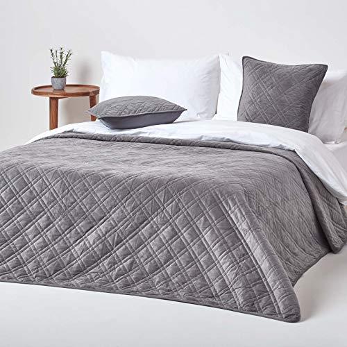 Homescapes Colcha de terciopelo gris oscuro geométrico mant