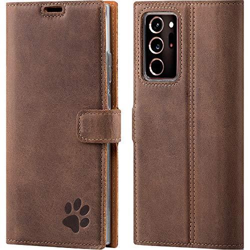 SURAZO Handyhülle für Samsung Note 20 Ultra hülle, Premium RFID Echt Lederhülle Schutzhülle mit Standfunktion, Klapphülle Tasche mit Pfotenmotiv Handmade für Samsung Galaxy Note 20 Ultra