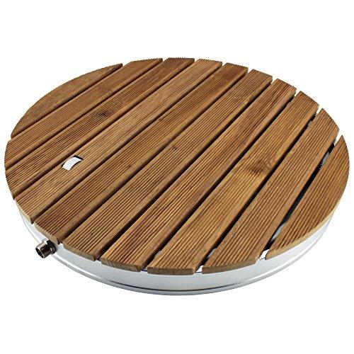@tec Gartendusche Aussendusche aus massivem Teak-Holz, Mobile Bodendusche Campingdusche, Sauna- & Pool-Dusche rund mit Bodenplatte für den Garten, Outdoor Shower - 4