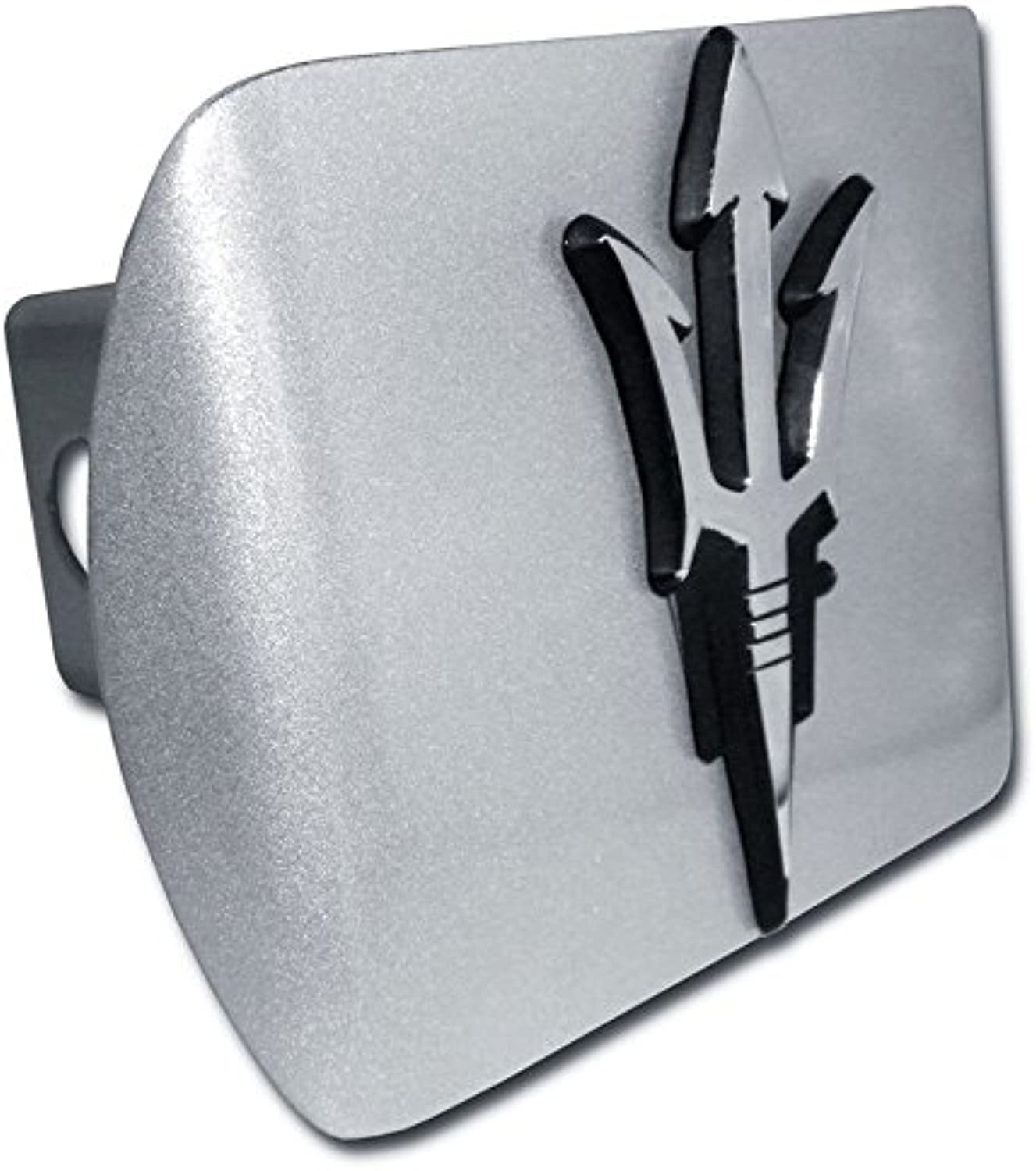 Arizona State Sundevils  Brushed Silver with Chrome  Pitchfork  Emblem  Metal Trailer Hitch Cover Fits 2 Inch Auto Car Truck Receiver with NCAA College Sports Logo