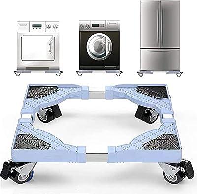 Bingopaw Appliance Wheels Adjustable Fridge Freezer Trolley, Movable Washing Machine Base(250KG Load)
