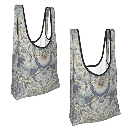 Reusable Shopping Bags Grocery Bags, 2 Pcs Washable Foldable Shopping Bags, XL Tote Bags Bulk with Handles. 50 Lb Holder Heavy Duty Tote Bags (Liberty of London)