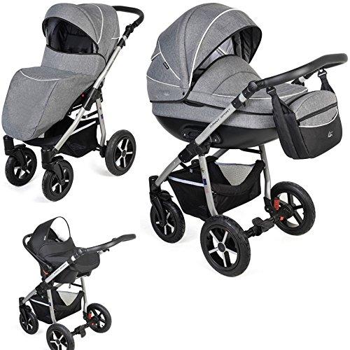 Clamaro 'Baby Boat' 3in1 Premium Kombi Kinderwagen mit XL Luftreifen (360° schwenkbar) inkl. Babyschale, Buggy, Babywanne und klappbarem Alu Gestell - Muster: Leinen Grau