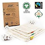 dear roots ® Wiederverwendbare Obst- und Gemüsebeutel | 100% GOTS + Fairtrade Bio Baumwolle | Gemüsenetze...