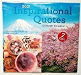 New! Set of 3 | (1) Inspirational Quotes 2021 Wall Calendar with (1) smaller Tea Time and (1) Colorful Single ClipClick Pen in Various Color Bonus Bundle Size 12x12