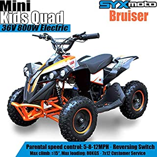 SYX MOTO 800W 36V Bruiser Kids Mini ATV Dirt Quad Electric Four-Wheeled Off-Road Vehicle, 5-7.5-12.5mph, with Reversing Sw...