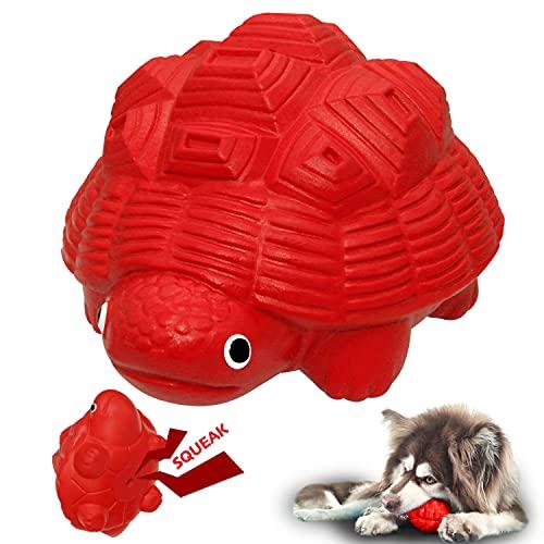 YILAKO Hundespielzeug unzerstörbar, quietschend Kauspielzeug für Mittlerer/Große Hunden, Robuster, ungiftiger und Sicher Naturkautschuk, Zahnreinigung (Rot)