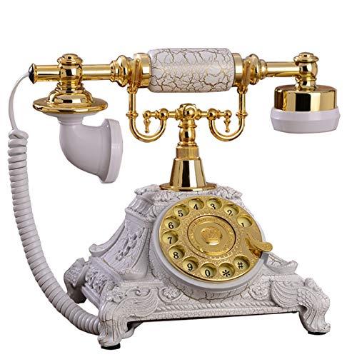 SQL Línea Fija Multifuncional Marcación rotativa de teléfono Fijo Antiguo clásico Europeo, función de rellamado con Auriculares Colgantes para Oficina de Hotel