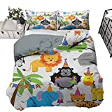 Comforter Bedding Cover Kids Birthday Luxury Down Comforter Quilt Cover Jungle Wild Safari Animals in Cartoon Pattern with Party Hats Flags Image ,3 Piece Bedding Set with 2 Pillow Shams,Full Size