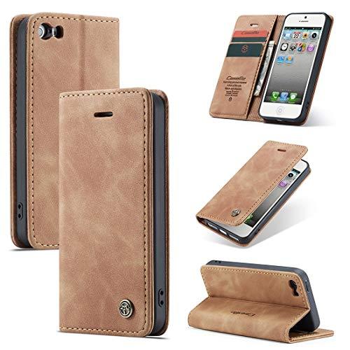 GUOQING Funda para iPhone 5/5S/SE de piel sintética de alta calidad, 2 en 1, con tapa magnética, piel suave mate + carcasa inferior de TPU con ranura para tarjeta (color café)