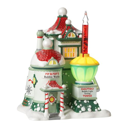 Department 56 North Pole Village Pip and Pop's Bubble Works Lit House, 6.89 inch 56 North Pole Series