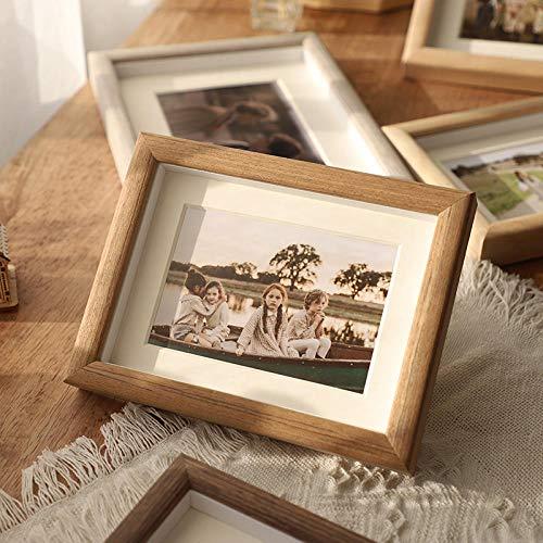 QKEMM Fotorahmen Wohnkultur Bilderrahmen Souvenir Einfacher Bilderrahmen Massivholz Den Tisch Decken+An Die Wand Hängen 10,2×15,2cm 1 Teak
