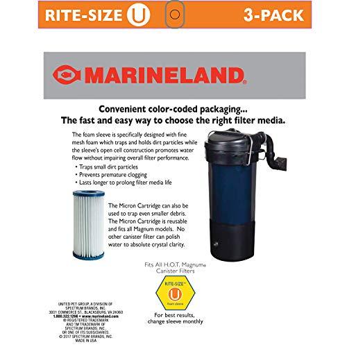 Marineland PA0115-03 HOT Magnum Foam Sleeve, Rite Size U, 3-Pack