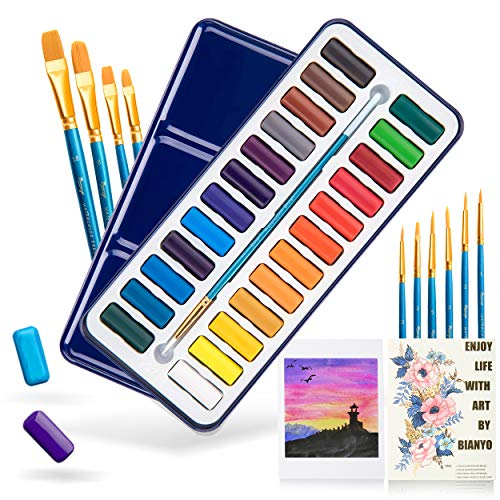 Bianyo 24 Colors Watercolor Set with 10+1 Pcs Art Brushes, 8 Pcs Watercolor Papers, a Watercolor Paper Swatch and A Zipper File Bag for Students Artists Kids Fun Arts Craft Projects