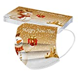 Tomatoa 10 Stück Damen Weihnachts Mundschutz,Atmungsaktive Baumwolle Stoff Mundbedeckung Halstuch,Waschbar Mund und Nasenschutz Bandana